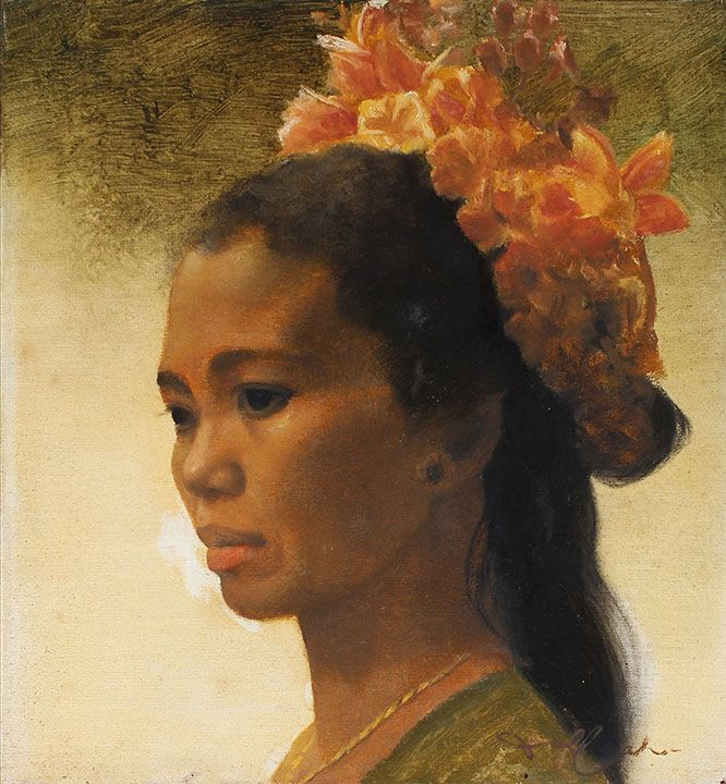 artist Dullah ~ 'Portrait of a Girl With Flowers In Her Hair'