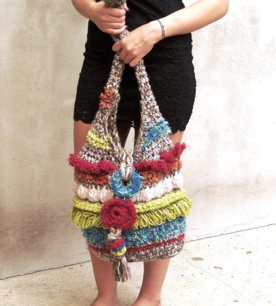 Rainbow colorful boho tote slouchy bag fashion womens freeform crochet festival yoga customized, OOAK, HEraMade.etsy.com