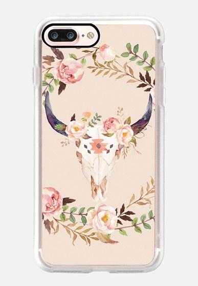Watercolour Floral Bull Skull iPhone 7 Plus Case by Ruby Ridge Studios…