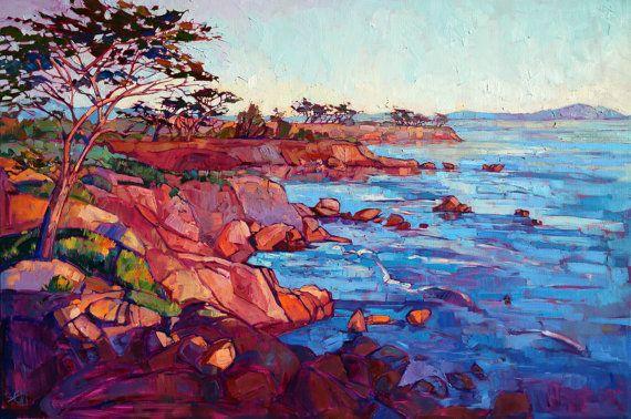 "Monterey California Modern Impressionism Landscape Original Oil Painting Hanson 54"""