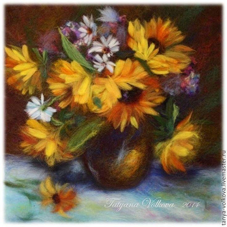 """Купить Картина из шерсти """"Краски лета"""" (Подсолнухи) - натюрморт, натюрморт с цветами, цветы, букет"""