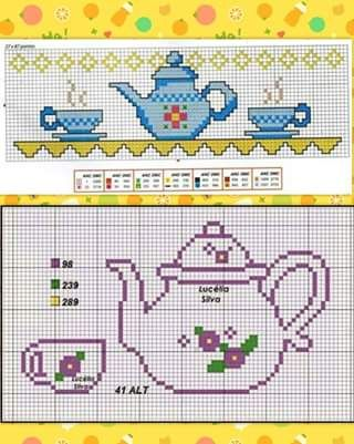 Tea time pattern / chart for cross stitch, crochet, knitting, knotting, beading, weaving, pixel art, micro macrame, and other crafting projects.