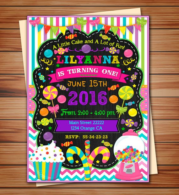 Candyland party invitation for Girl, Candyland digital chalkboard invitation, Candy thank you card free! print it yourself!