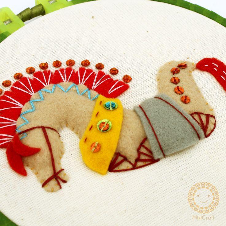 Kuda Lumping made by felt, stitched on canvas.
