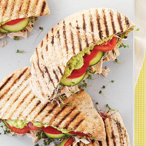 Pita Paninis with Tuna, Sprouts, Zucchini and Avocado Cream (Click Pic for Recipe) I completely swear by CLEAN eating!! Follow my blog To INSANITY and back.... One Girls Journey to Fitness, Health, & Self Discovery.... http://mmorris.webs.com