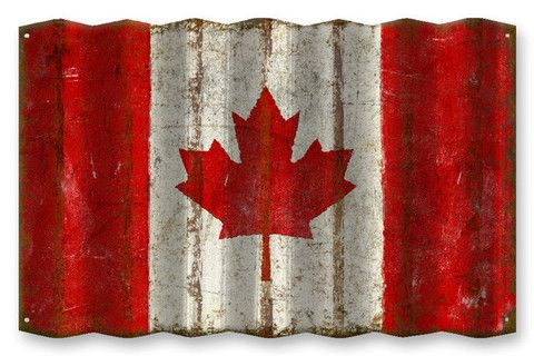 Canadian Flag Corrugated Metal Sign