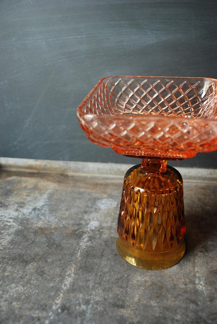 vintage pedestal candy bowl | Pink & Amber