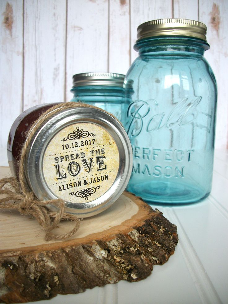Vintage Spread The Love Custom Wedding Labels Canning For Jar Personalized