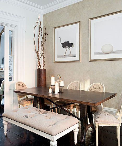 love those brownsDining Rooms, Wall Colors, Decor Ideas, Benches, Interiors Design, Dining Room Art, Upholstered Chairs, Painting Chairs, Design Blog