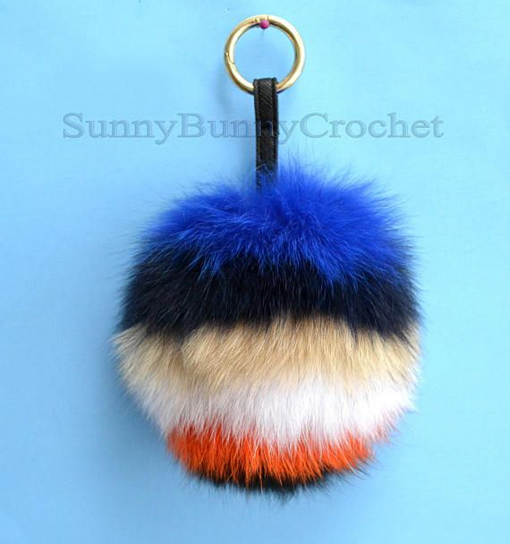 6 REAL FUR POM Pom Key chain Large Fox Bag Charm Key