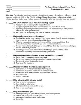Cool! Finally found AWESOME resources to go with Sean Covey's The 7 Habits of Highly Effective Teens! Two quizzes with answer keys! Why didn't I find this sooner?