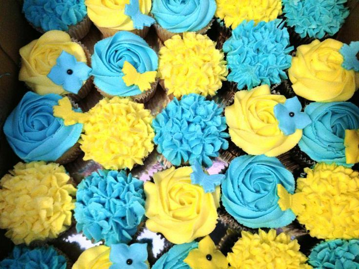 Blue And Yellow Cupcakes Bridal Showers Weddings Pinterest Cupcake