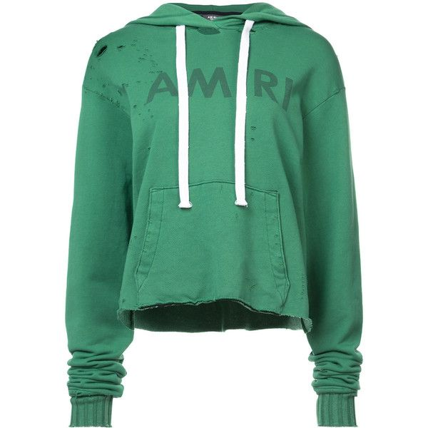 Amiri distressed cropped hoodie ($601) ❤ liked on Polyvore featuring tops, hoodies, green, ripped hoodie, green hoodies, green hooded sweatshirt, long sleeve hoodies and green long sleeve top