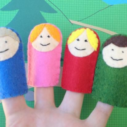 Felt Finger Puppet Family Made To Look Like Your Family