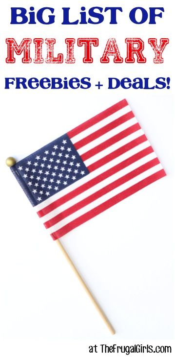 Military Discounts! Links to lots of discounts. This is an old webpage, but most are still current. Nice to see it in one place. http://thefrugalgirls.com/military-discounts