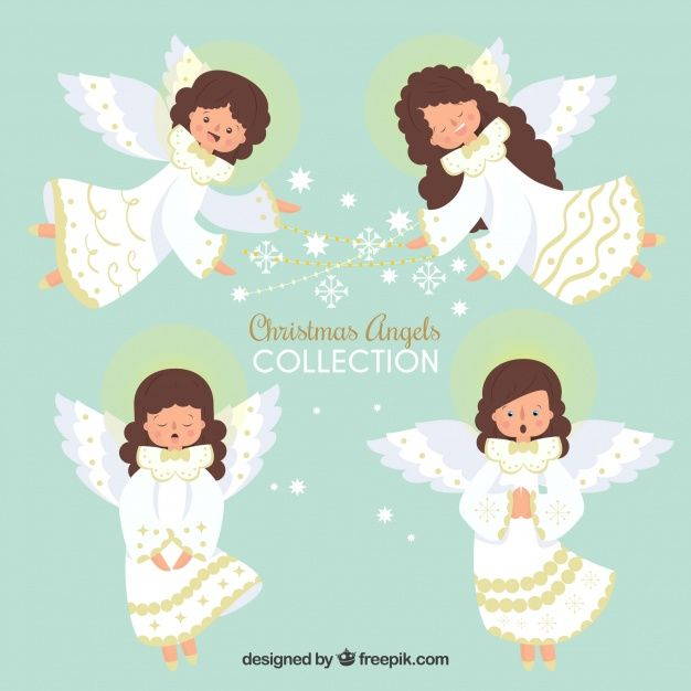 Hand drawn collection of christmas angels Free Vector