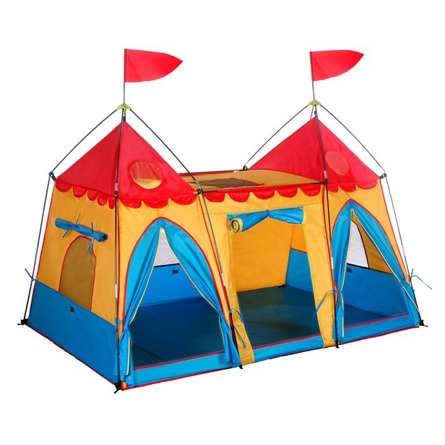Kids will love this colorful castle play tent. Made with durable polyester with mesh window cut-outs that allow for air flow, this spacious tent offers endless possibilities for imaginative play. The tent packs up for easy storage and transportation.