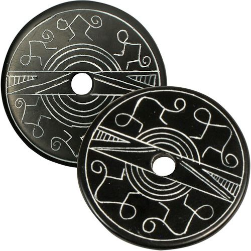 "Coal Pendants with Monkey Designs  Crafted by Artisans in Colombia  Measure 1-3/4"" diameter and 1/8"" thick"