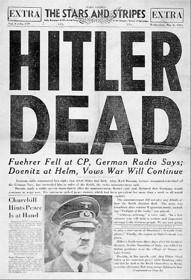 On this day: April 30th 1945  With Soviet troops being within a block or two of the Reich Chancellery, Adolf Hitler commits suicide inside his Berlin bunker alongside Eva Braun.   Both their bodies were carried up the stairs and through the bunker's emergency exit to the bombed-out garden behind the Reich Chancellery, where they were placed in a bomb crater and doused with petrol. The corpses were then set on fire.