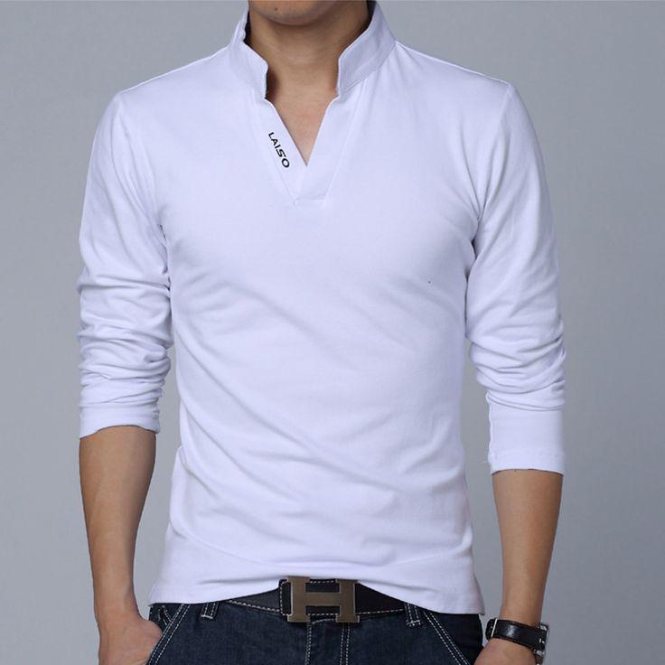 Горячие Продажа 2016 Новое Лето Мужская Одежда Мода Рубашки Поло Людей V-образным Вырезом Slim Fit Длинные SleeveTrend Повседневная Tee Shirt 5XL