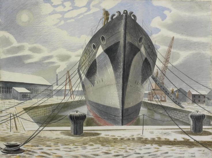 A Warship in Dock by Eric Ravilious, 1940 (probably Chatham, Kent)