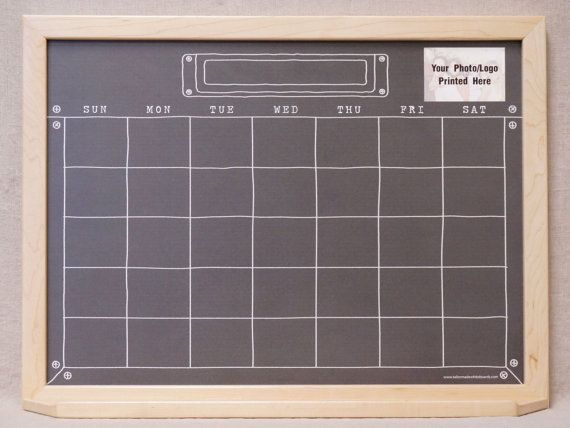"Black ""Industrial Chalkboard"" Calendar Dry Erase Board - Framed Wall Command Center Organizer - Large Family Calendar White Board Planner"