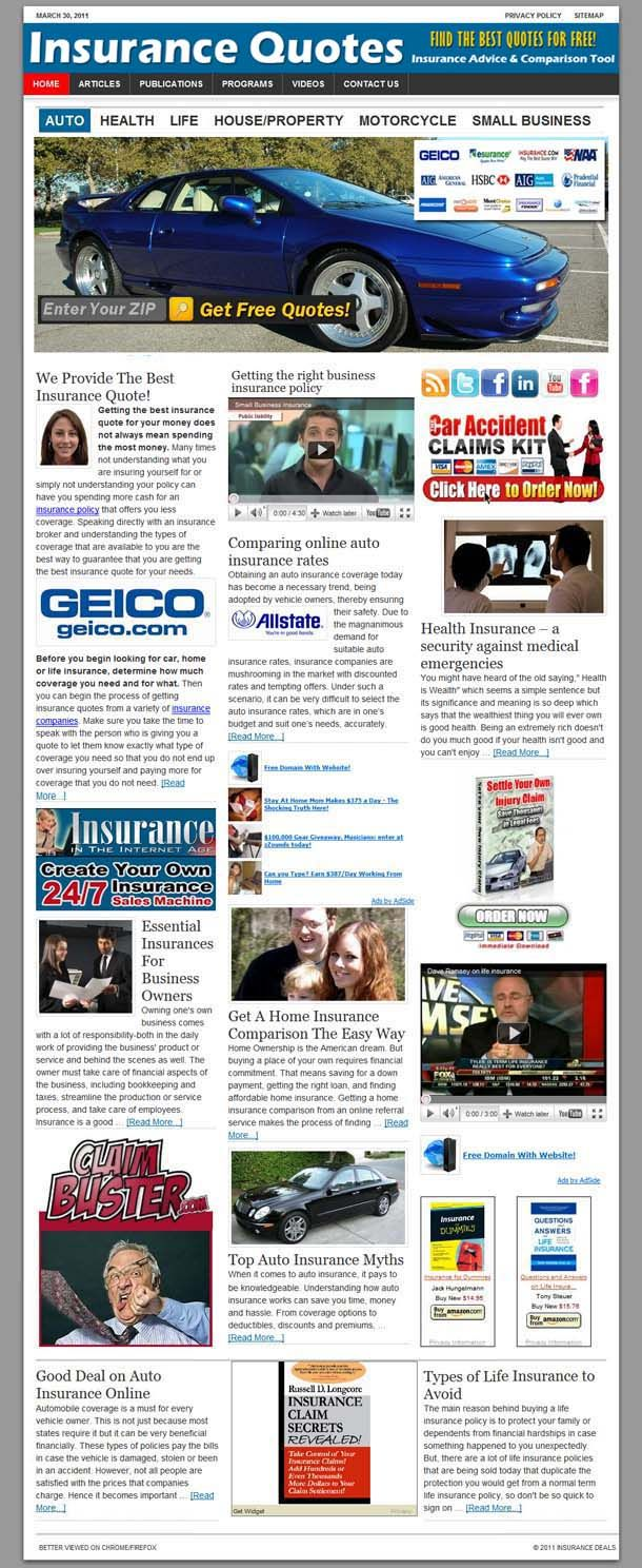 Online Insurance Quotes website! Probably the site with the HIGHEST PROFIT POTENTIAL in our portfolio! As you already know there is BIG MONEY in the ONLINE INSURANCE BUSINESS! At $10...$30 AdSense CPC (yes insurance companies pay $30/click and even more!), even with a modest traffic of 100 visitors/day and a very conservative 1% conversion rate, from AdSense ONLY the monthly profit will be in the thousands of dollars. SureHits is beautifully integrated in the design. See sale page for…