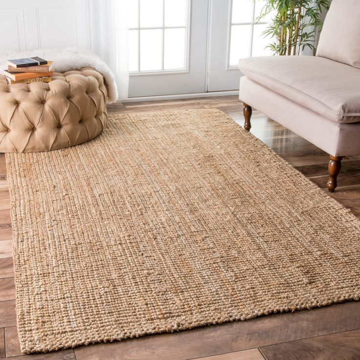 NuLOOM Hand Woven Natural Fiber Jute Sisal Ribbed Solid Rug 86 X 116 Brown