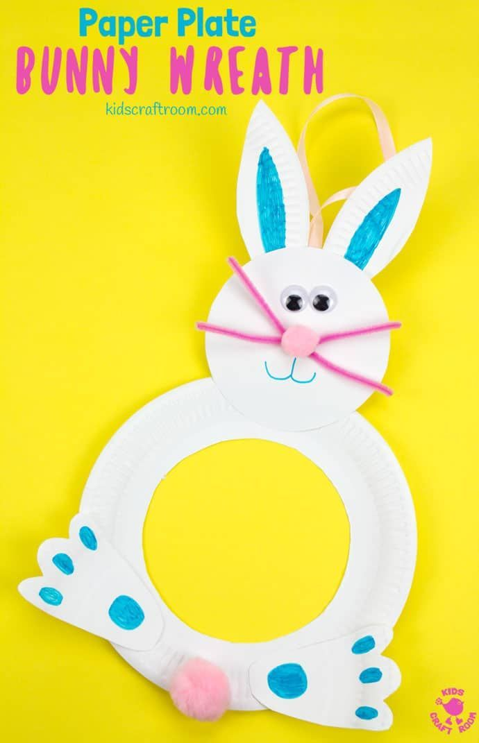 Paper Plate Bunny Wreath Simple Kids Craft Ideas Pinterest