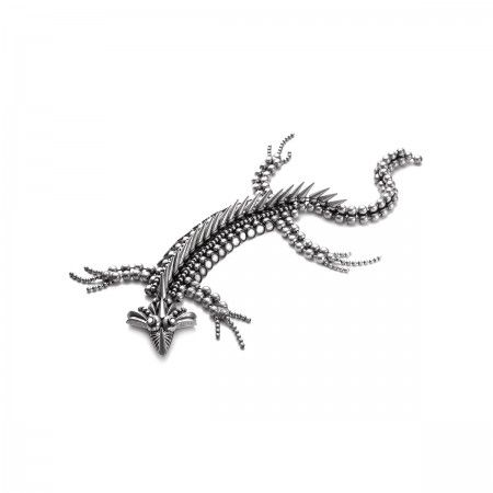 Lacrom - Woman - Iguana Unisex Igana shaped accessory.  Handmade, in galvanized brass with an antique-effect.  Articulated. Created to be sewn on a jacket, a coat or a tuxedo, so taht it stays on the shoulder.