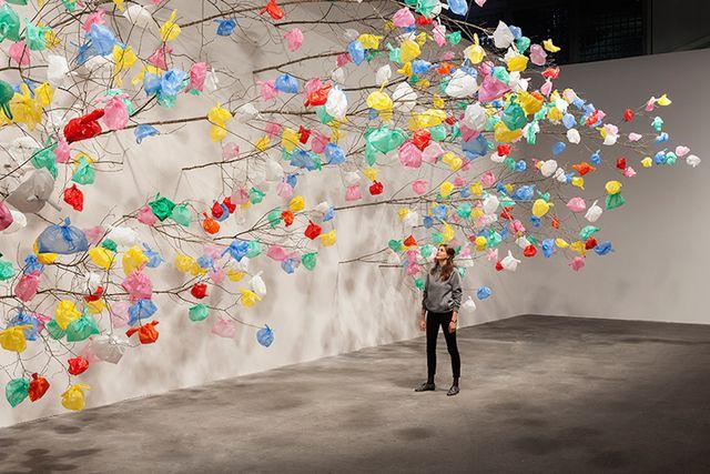 Pascale Marthine Tayou -  Plastic Tree Installation at Art Basel 2015  #Inspiration #Ephemeral