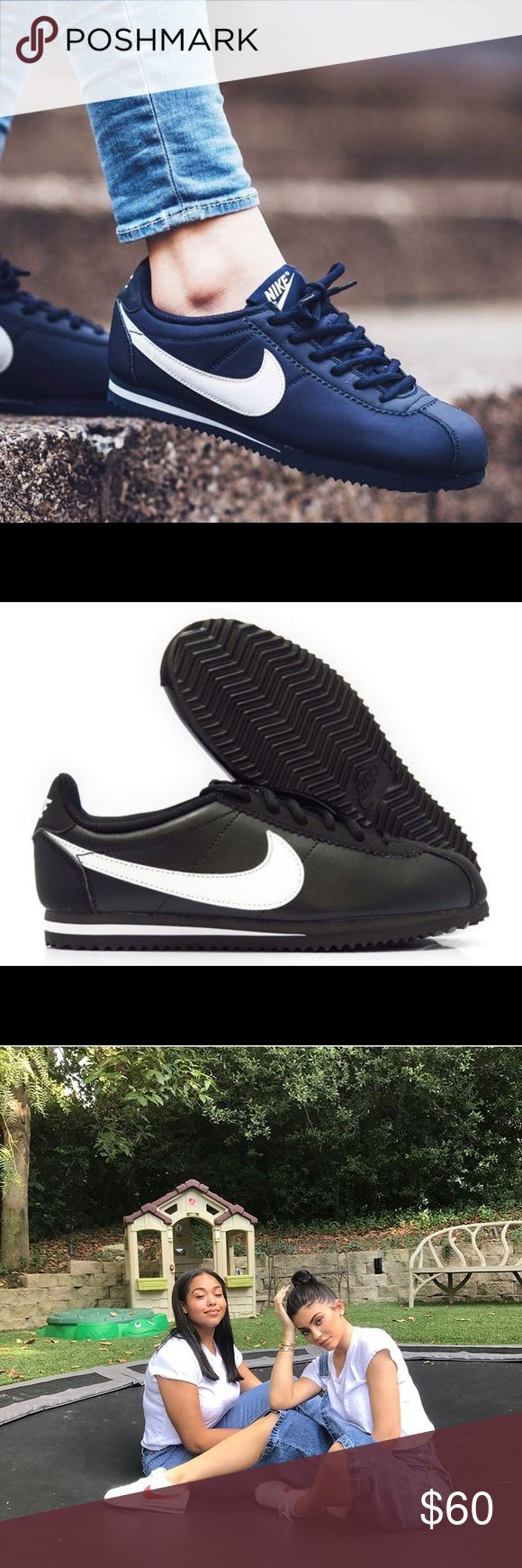 😎😎😎As seen on Kylie Jenner 😎😎😎 Classic black and white nike Cortez can't go wrong, get em while they last Nike Shoes Sneakers