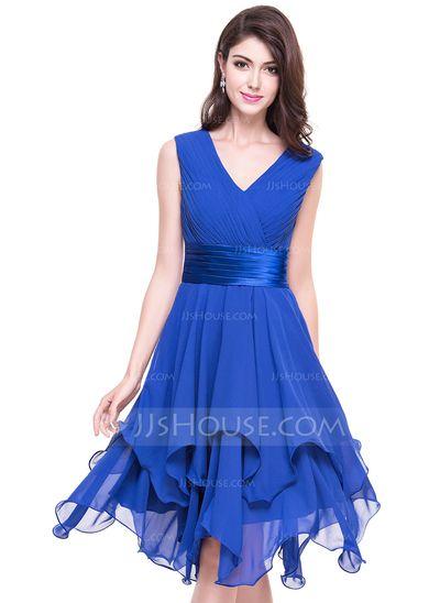 A-Line/Princess V-neck Asymmetrical Chiffon Cocktail Dress With Ruffle Cascading Ruffles (016066936) #jjshouse