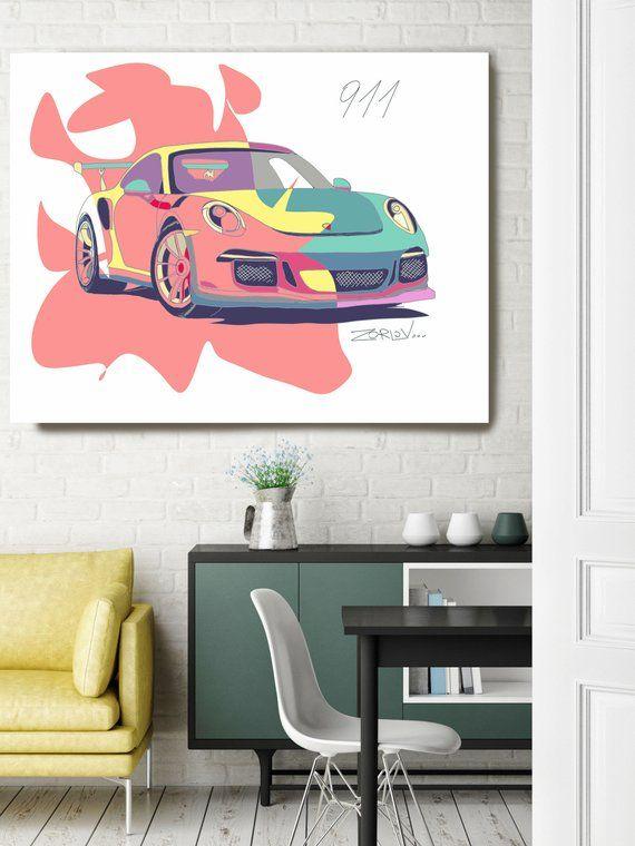 Pink Porsche Porsche Art Print Large Pink Green Porsche Etsy Kids Wall Decor Figurative Wall Art Canvas Art Painting