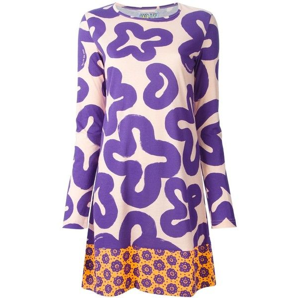 Pre-owned Walter Van Beirendonck Vintage printed dress ($200) ❤ liked on Polyvore featuring dresses, vintage day dress, vintage short dresses, long sleeve cotton dress, purple vintage dress and cotton dresses