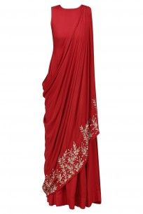 Red and Gold Leaf Embroidered Drape Dress #prathyushagarimella #shopnow #ppus #happyshopping