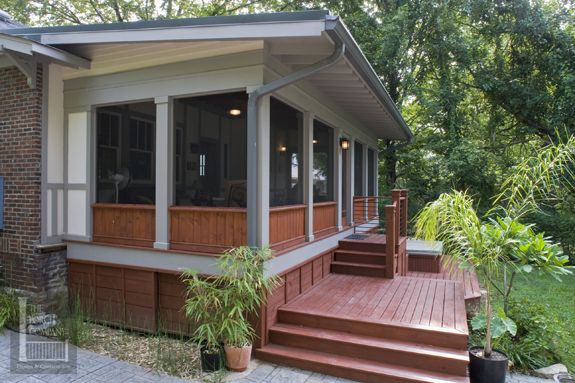 Shed roof screened porch with kneewall house home Shed with screened porch