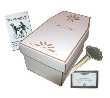 Pet Memorial Set - Pet Casket, Grave Marker, Berevement Certificate, Pet Loss Ceremony Booklet, biodegradable pet casket