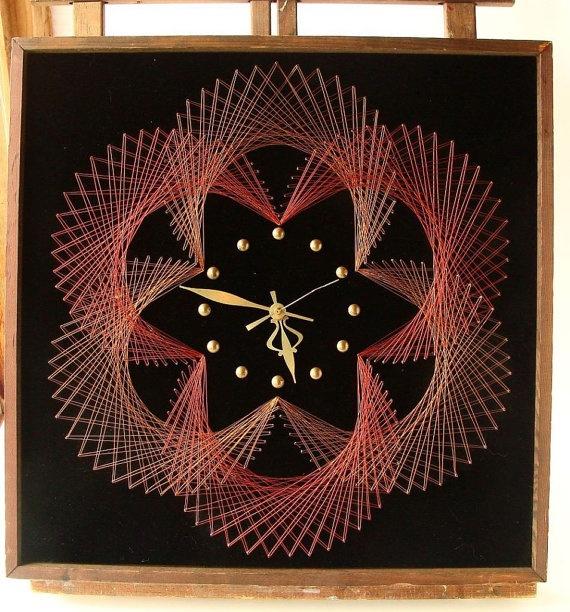Vintage 1970s-80s Creative Craft Mid Century Modern Spirograph wall clock for sale MJsFunkandJunk shop Etsy