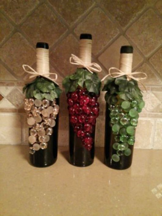 beaded wine bottles