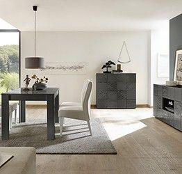Sala completa di tavolo, 1 madia con 2 cassetti e 1 madia 2 ante, grigio serigrafato
