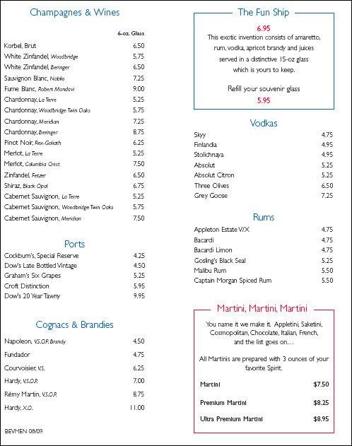 Carnival Cruises Ausyralia Drink Prices