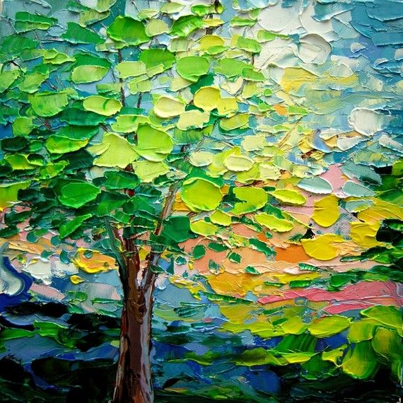 I really like the use of color and style Tree Impasto painted tree oil painting