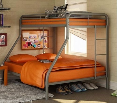 Dorel Twin Over Full Metal Bunk Bed Silver Ladder Dorm Kid Teen Room Furniture