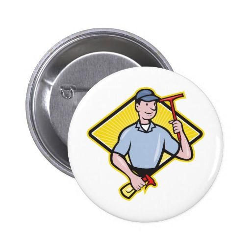 Window Cleaner With Squeegee Button. Pinback button with an illustration of a window cleaner holding a squeegee and spray bottle set inside a diamond shape done in cartoon style. #windowcleaner #squeegee #pinbackbutton