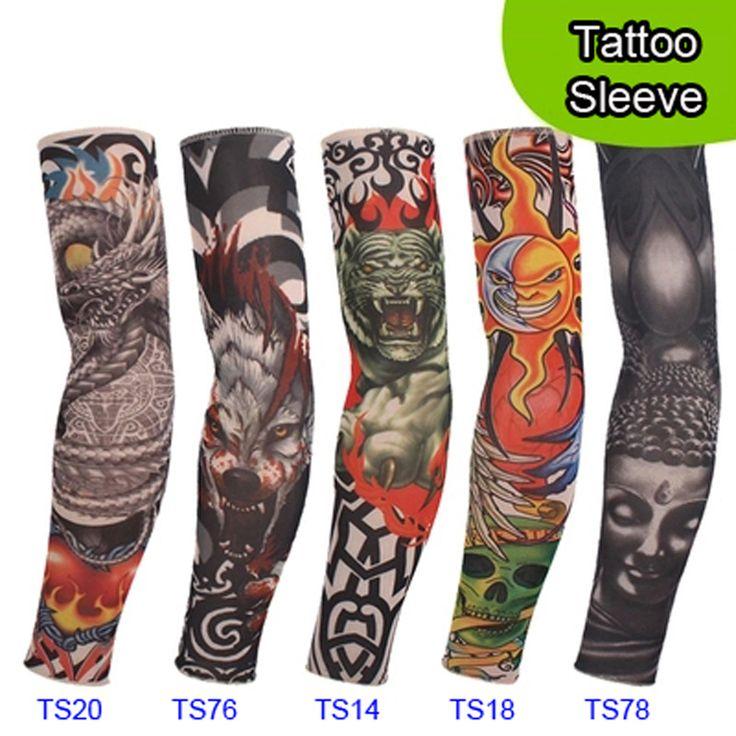 5 PCS new mixte 92% Nylon élastique manchon de tatouage temporaire faux conçoit corps bas Arm tatoo pour cool hommes femmes