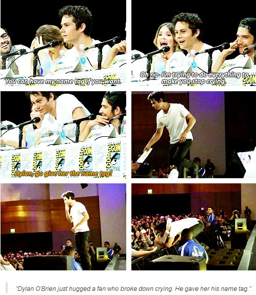 teen wolf - comic-con - dylan  o´brien giving an adoring fan his name tag :)) She was crying