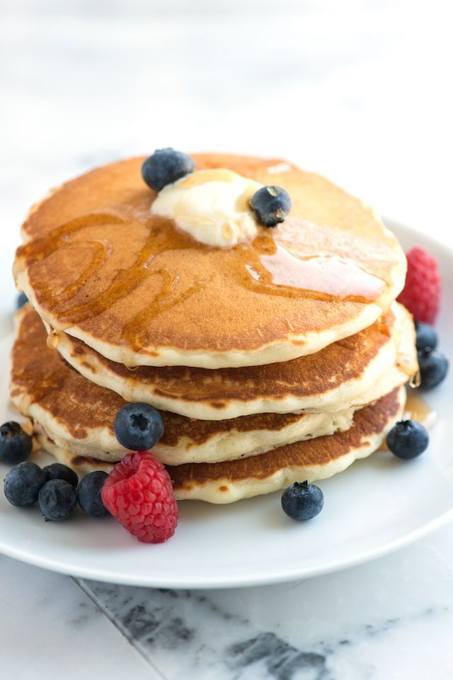 Essential Pancake Recipe from www.inspiredtaste.net - Makes light and fluffy pancakes. They're not too sweet and are lightly scented with vanilla, making them extra delicious.