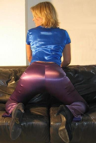 Grey satin blouse silk panties and satin skirt