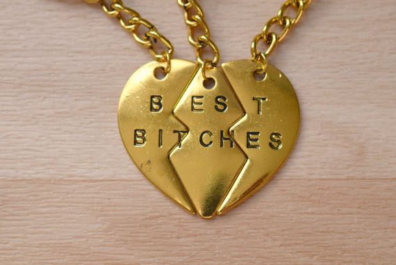 Best Bitches Keyring  Gold Split Heart Keychain  Set Of 3